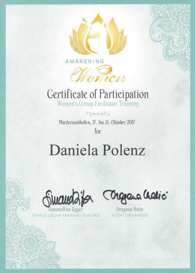 Zertifikat Daniele Polenz Lebensberatung